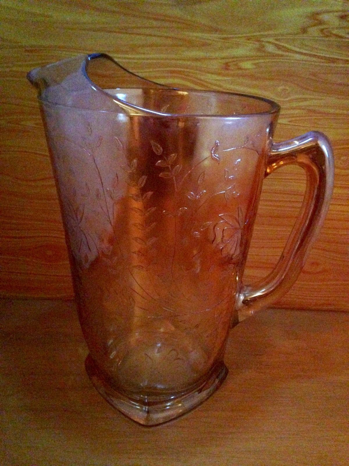 Vintage Carnival Glass 3 pc. Pitcher And Cup Set Antique Iridescent