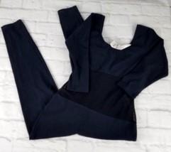 Petal Wear Womens Unitard Size Medium Black 3/4 Sleeve Net Midriff Scoo... - $18.80