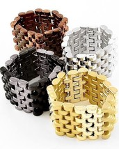 NEW Multi Tone Link Stretch Bracelet in Gold, Silver, Brown or Black - $1.59