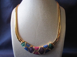 Vintage Multicolored Jewel Toned Enameled Choker on Gold Toned Chain - $17.99