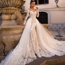 Celeb Vintage Bridal Euro Designer Long Sleeve Button Illusion Floral Embroidere image 6