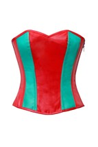 Red Green Leather Zipper Gothic Steampunk Bustier Waist Training Overbust Corset image 1