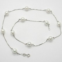 18K WHITE GOLD NECKLACE, VENETIAN CHAIN ALTERNATE WITH AKOYA WHITE PEARLS 7.5 MM image 1