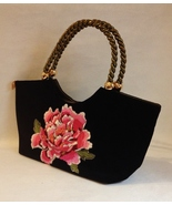 Medusa Black Velour Purse Pink Flower Floral Embroidery Gold Bronze Trim Handbag - £51.03 GBP