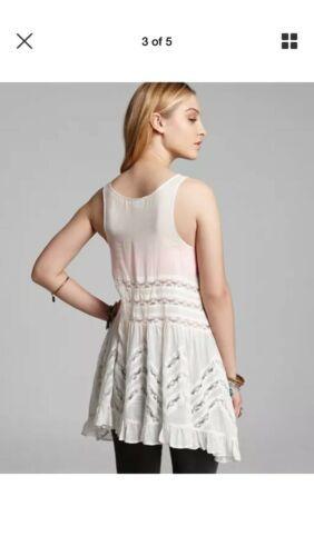 Free People Voile Trapeze Lace Slip Dress XS Fit S Polka Dot Swing Beach