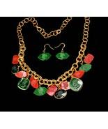 Victorian necklace / bloodstone earrings / Carnelian intaglio cameo / Fo... - $395.00