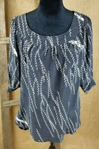 Anthropologie Lux women small silk Hi-Low tunic 3/4 sleeve peasant bell sleeves - $27.72