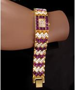 "Stunning jeweled Bracelet watch - 7 1/2"" Louis Weil quartz - amethyst cr... - $175.00"