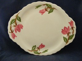 Continental Kilns Green Arbor Pink Magnolia Handled Platter Hand Painted - $19.95