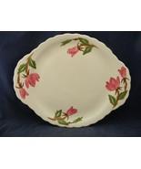 Continental Kilns Green Arbor Pink Magnolia Handled Platter Hand Painted - $19.95