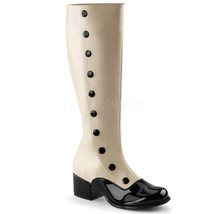 "FUNTASMA Retro-306 Series 2"" Heel Knee-High Boots - Cream Str Pu-Black P... - $39.95"