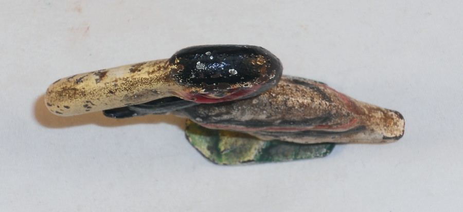 Vintage Cast Iron Figural Painted Bottle Opener Standing Pelican with Red Eyes