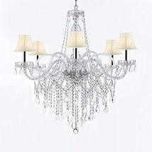 Murano Venetian Style All-Crystal Chandelier Chandeliers with White Shades W/Chr - $293.98