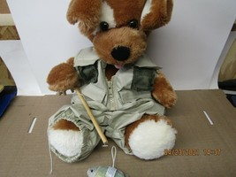 Build-A-Bear Dog with Fishing outfit, pole and fish. - $17.82