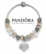 Authentic Pandora .925 Silver Bracelet with 2019 Graduation Gift Beads I... - $89.99