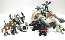 "11pc Star Wars LFL Hasbro Mixed Lot Snowspeeder+Landspeeder+  2"" Figures... - $37.39"