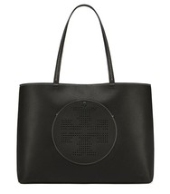 NWT TORY BURCH Black Leather Perforated Logo Tote Shoulder Bag New - $285.00