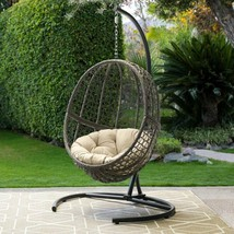 Hanging Egg Chair with Stand and Cushion Outdoor Patio Porch Wicker Swin... - $385.99