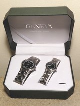 Pair of Geneva Watches Men's & Women Wristwatch Classic Collection New B... - $19.79