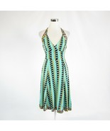 Light green brown geometric 100% silk ISSA stretch halter neck sun dress... - $144.99