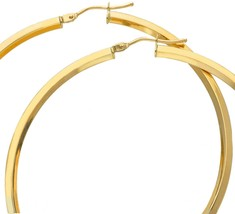 18K YELLOW GOLD CIRCLE EARRINGS DIAMETER 50 MM WITH RHOMBUS TUBE, MADE IN ITALY image 2