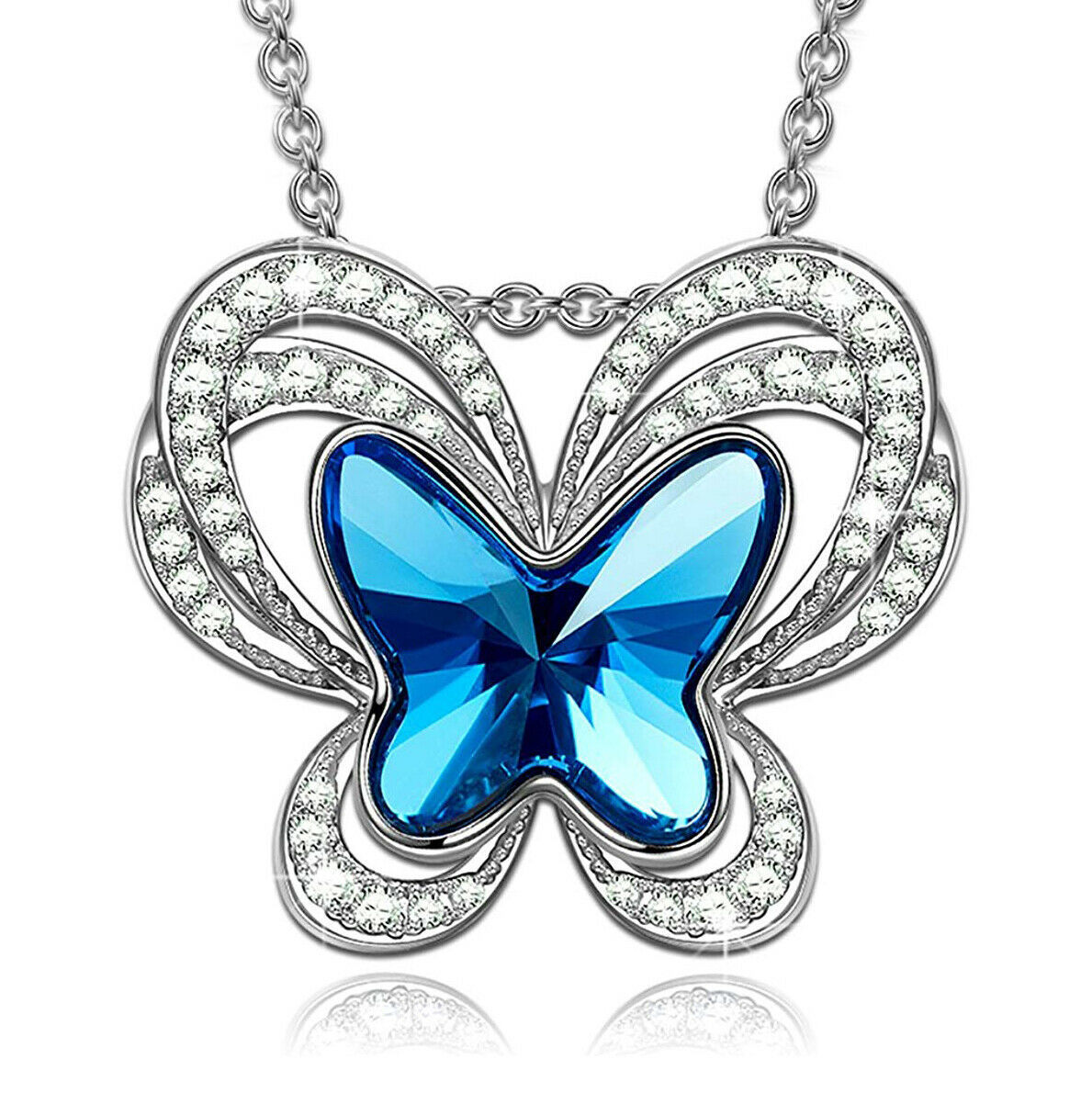 Primary image for Necklace Choker Aquamarine Blue W Swarovski Crystal Elements ExNoVo Butterfly