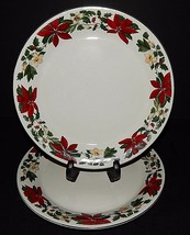 2 Gibson Designs Poinsettia Christmas Holiday Dinner Plates  3400249 Red... - $34.65