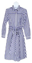 J Crew Womens Tie Waist Shirt Dress Blue White Stripes Button Front 00 H... - $73.59