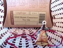 Longaberger MERRY CHRISTMAS Basket Tie-On Vintage Bell 2003 Ceramic New ... - $11.00