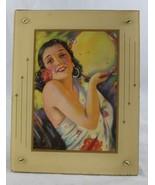 Vintage R. Wilson Hammell Art Deco Framed Beautiful Spanish Woman Pin-up... - $24.99