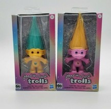60th Anniversary Good Luck Trolls Green & Yellow Classic Figure Lot of 2.  - $20.78