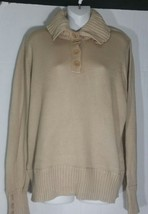 Talbots Sweater Petite Extra Large PXL Shawl Collar Beige Cotton Pullover NWT - $29.69