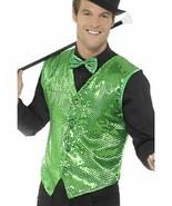 Mens Green Sequin Waistcoat, XL, Dance/Fancy Dress/Irish/St Paddys Day - $19.57