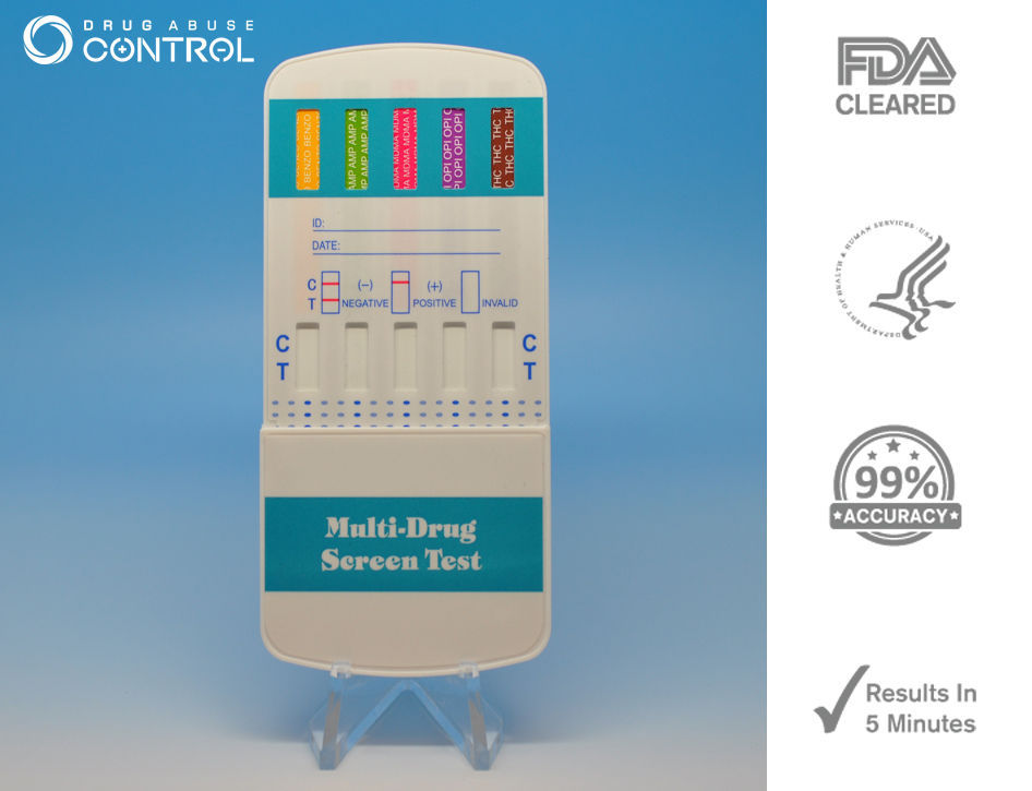 5 Pack of 5-Panel Drug Testing Dip - Tests THC/OPI/COC/PCP/AMP