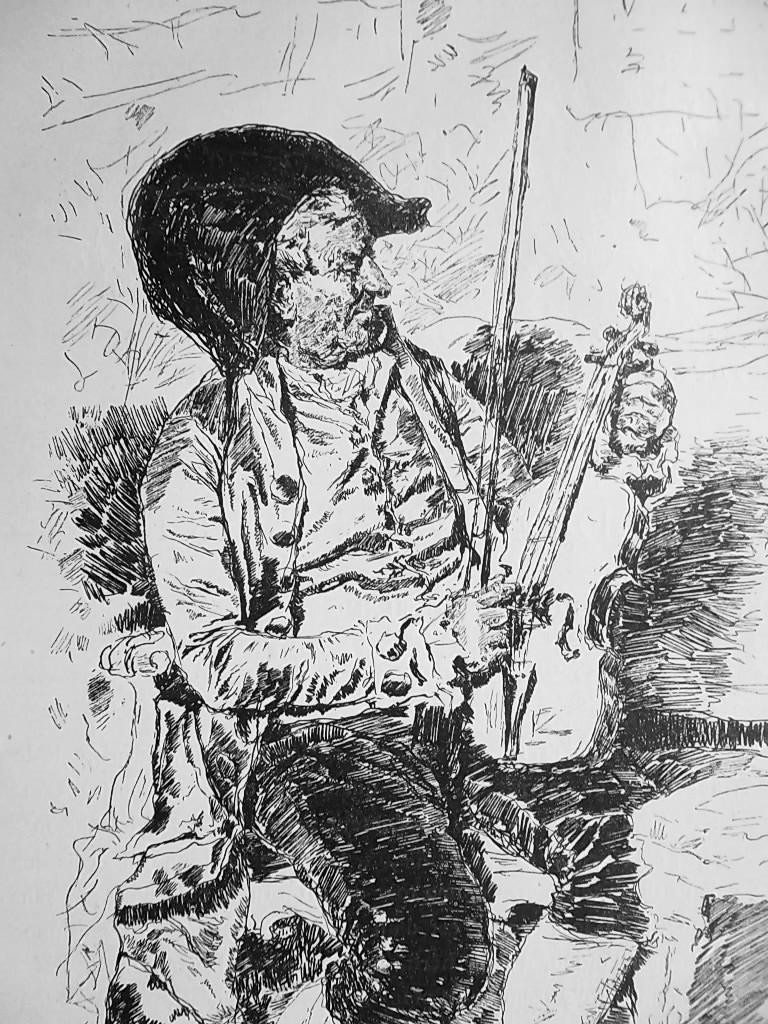 VIOLIN PLAYER - 1876 Antique Print after Casanova