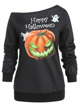 Pumpkin Print Hallowmas One Shoulder Sweatshirt(BLACK S) - $21.79