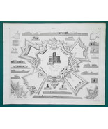 FORTIFICATIONS Systems Vauban's Cohorn Pagan Marolais - 1844 Superb Print - $9.00