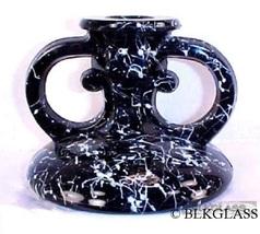 Ebony Black Glass Fingerhold Candleholder w/ White Cobweb Confetti Decor... - $24.99