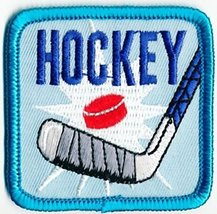 Cub Girl Boy HOCKEY Embroidered Iron-On Fun Patch 2 Crests Badge Scout G... - $4.90