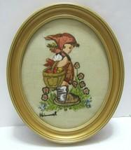 Vtg Hummel Crewel Hand Embroidered Framed Wall Art Oval Frame 12x10 HTF  - $39.59