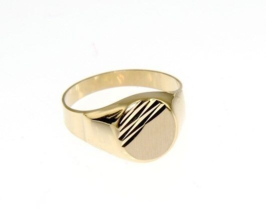 18K YELLOW GOLD BAND MAN RING ROUND OVAL ENGRAVABLE WORKED SATIN MADE IN ITALY