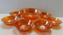 Imperial Set Carnival Glass Daisy & Prism 6 Berry Bowls Ramekins & Large... - $14.62