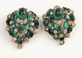 ESTATE VINTAGE PAIR OF SCHREINER STYLE CABOCHON & RHINESTONE SCATTER PIN... - $75.00