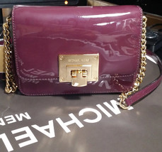 MICHAEL KORS TINA CONVERTIBLE CROSSBODY Patent Leather CLUTCH BAG Plum NWT - $110.88