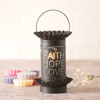 Primary image for Rustic Mini Wax Warmer With FaithHopeLove Punched Tin Shade In Kettle Black