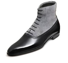 Handmade Men's Black Leather and Gray Suede High Ankle Boot image 1