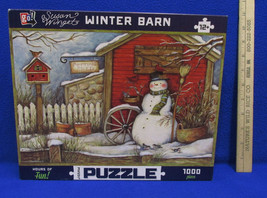 Snowman Jigsaw Puzzle Winter Barn 1000 Pieces by Susan Wiget Go Brand - $11.87