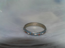 Antique Thin Blue Enamel with Dainty White & Red Accents Metal Band Ring... - $12.19