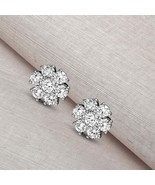 925 Sterling Silver 2 1/2 CT Lab Grown Diamond flower stud Earring for w... - $1,074.99