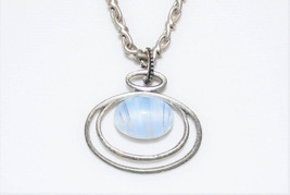 Blue Glass Quartz Floating Silver Pendant - $30.00
